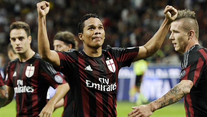 Db Piacenza 19/09/2015 - campionato di calcio serie A / Milan-Palermo / foto Daniele Buffa/Image Sport nella foto: esultanza gol Carlos Bacca