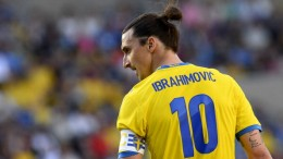 Sweden's forward and team captain Zlatan Ibrahimovic reacts during the FIFA World Cup 2014 friendly match Sweden vs Macedonia at Swedbank Arena in Malmo, Sweden on June 3, 2013. AFP PHOTO/JONATHAN NACKSTRAND        (Photo credit should read JONATHAN NACKSTRAND/AFP/Getty Images)