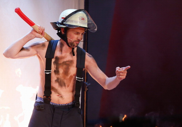 DUESSELDORF, GERMANY - FEBRUARY 22:  Klaas Heufer-Umlauf, dressed up as a firefighter, attends the 'Wetten, dass..?' TV Show from Dusseldorf at the ISS Dome on February 22, 2014 in Duesseldorf, Germany..  (Photo by Andreas Rentz/Getty Images)