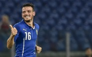 Italys' midfielder Alessandro Florenzi celebrates after scoring during the Euro 2016 qualifying football match between Italy and Norway at Rome's Olympic stadium,on October 13, 2015 . AFP PHOTO / ANDREAS SOLARO