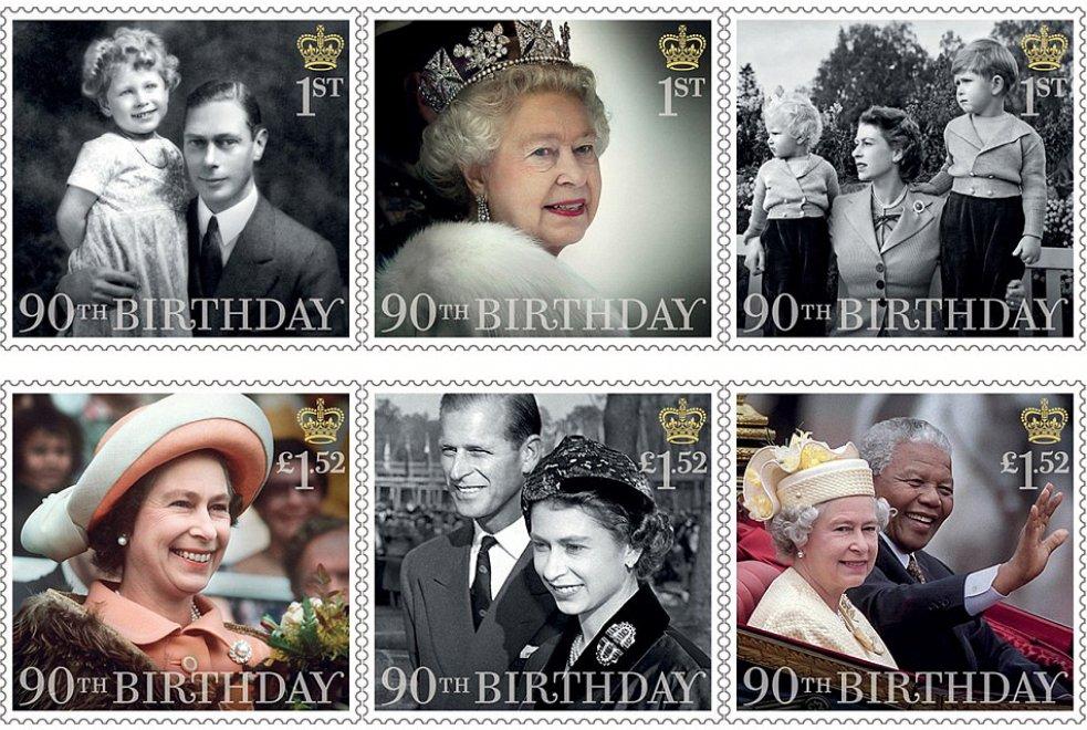 I nuovi francobolli inglesi per il compleanno della regina