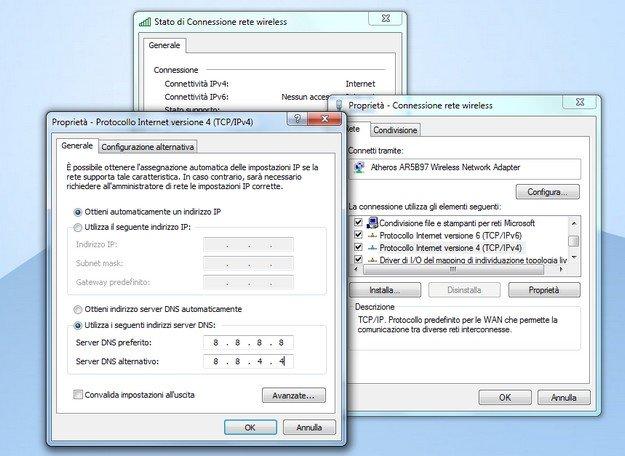 Come cambiare DNS Windows 7