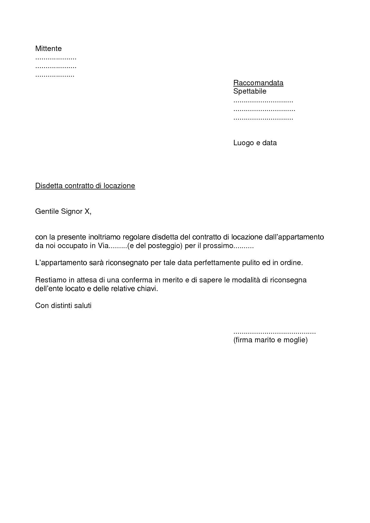 Fac simile lettera di recesso contratto di locazione for Contratto di locazione