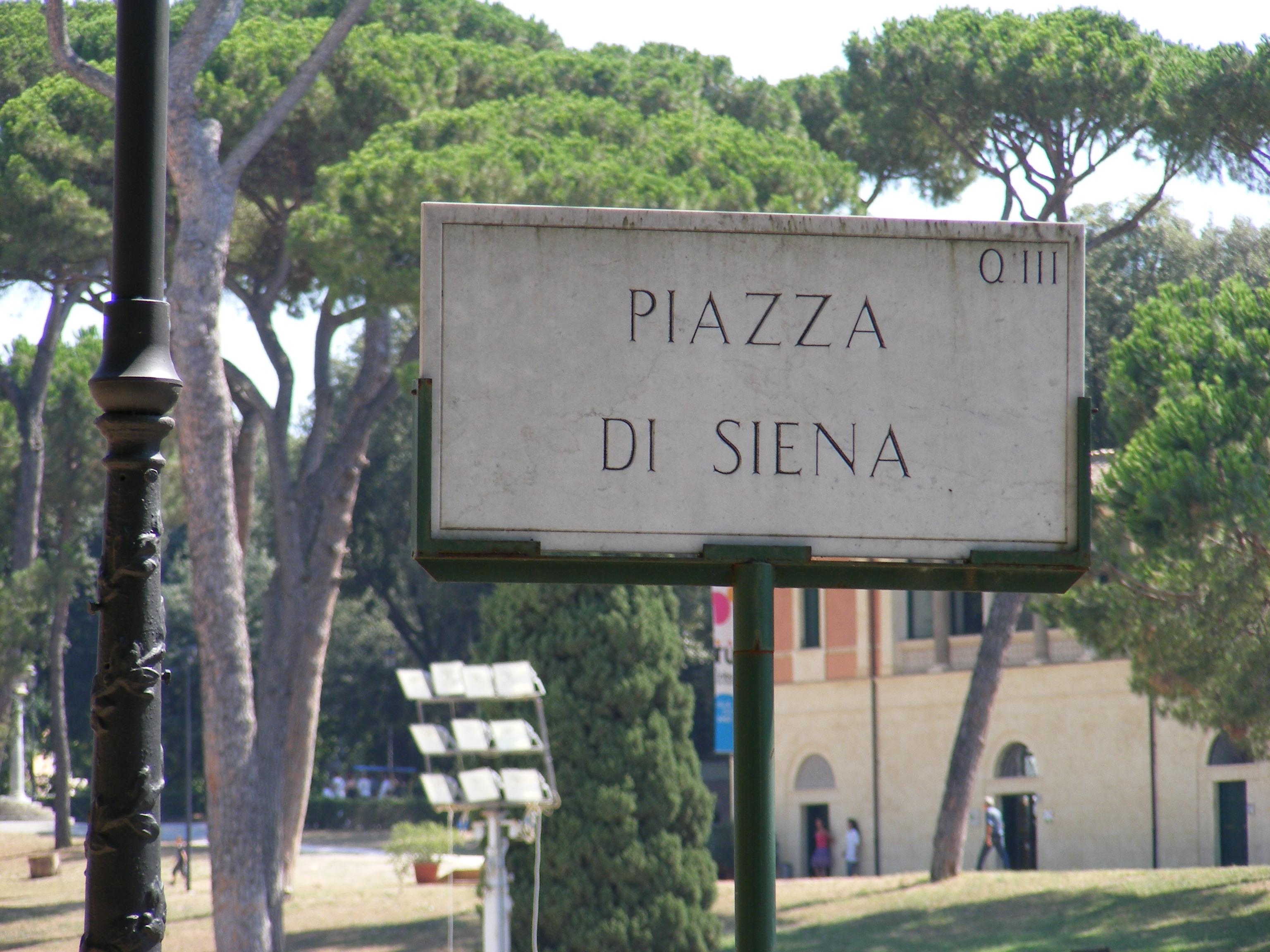 Rome   Piazza di Siena sign