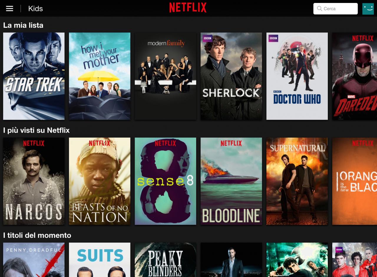 Tutto il catalogo Netflix Italia