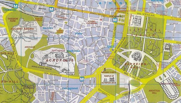 Mappa dei monumenti di Atene
