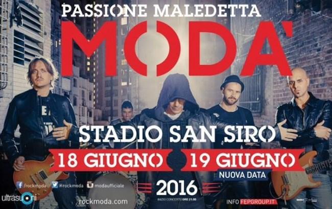 Data e prezzi biglietti concerto Modà San Siro Milano 2016