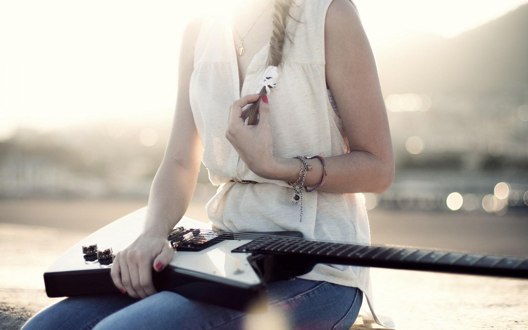 music country vintage guitar girl singer sunset hd wallpaper