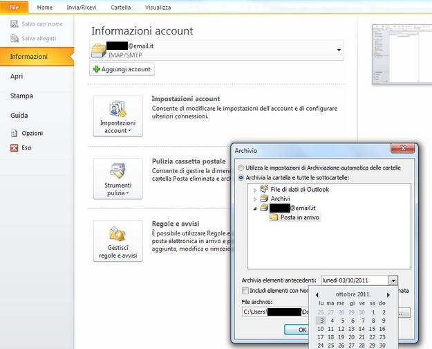Come archiviare su Outlook