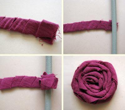 Rose in tessuto arrotolato