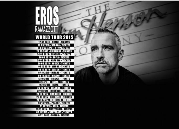 Prezzo biglietto concerto Eros World Tour settembre 2015
