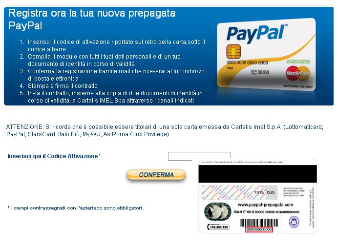 Come attivare la carta Paypal prepagata