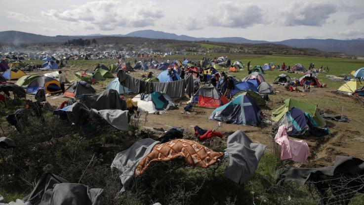 Il campo profughi di Indomeni qualche tempo fa
