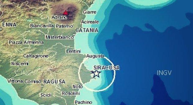 L'epicentro del terremoto di ieri notte a Siracusa così come stabilito dall'INGV
