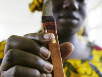 TO GO WITH AFP STORY  A woman who performs genital cutting shows a knife she uses during a gathering to denounce excision 17 November 2005 in Abidjan. 40% of women in Ivory Coast undergo genital mutilation. AFP PHOTO KAMBOU SIA