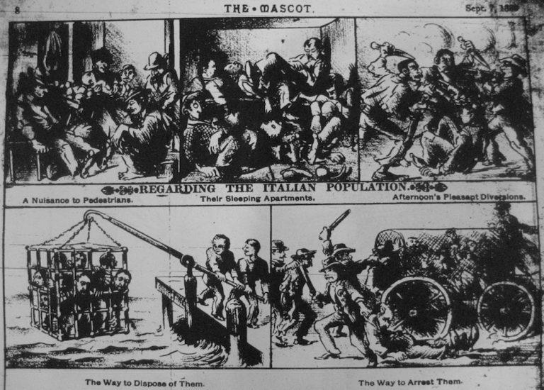 La vignetta razzista anti - italiana pubblicata sul quotidiano The Mascot nel 1888