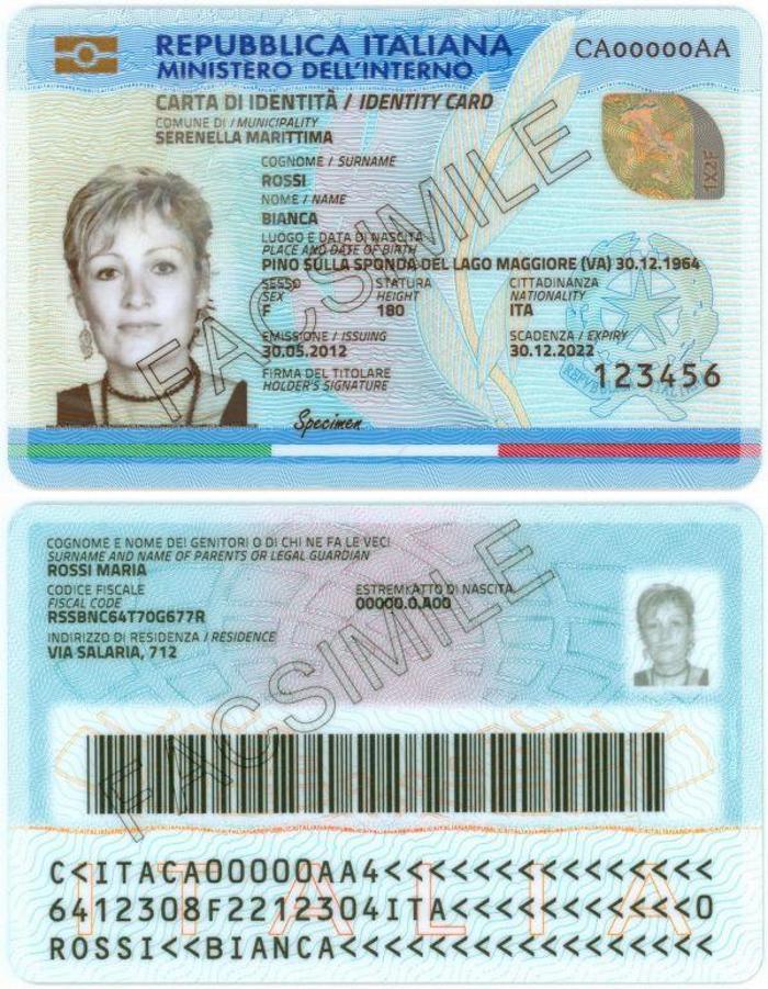 costo della carta d'identità