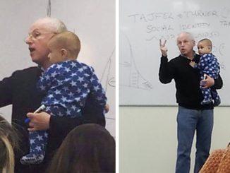 Il bimbo di una studente inizia a piangere in classe, il professore fa una cosa straordinaria!