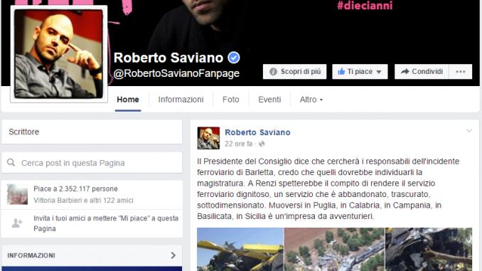 Cordoglio di Roberto Saviano
