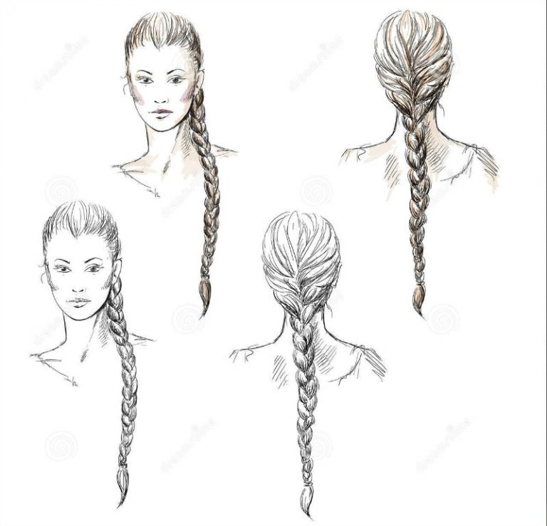 how to draw a braid from the front