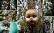 "Vari tipi di bambole ""impiccate"" sull'isola"