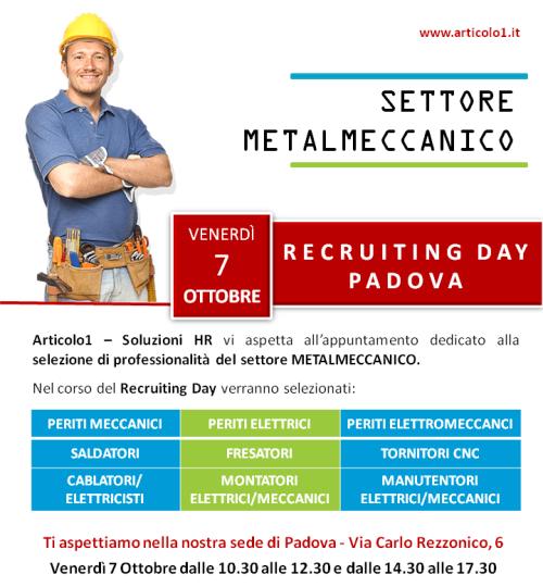 Assunzioni metalmeccanici: il 7 ottobre Recruiting Day a Padova
