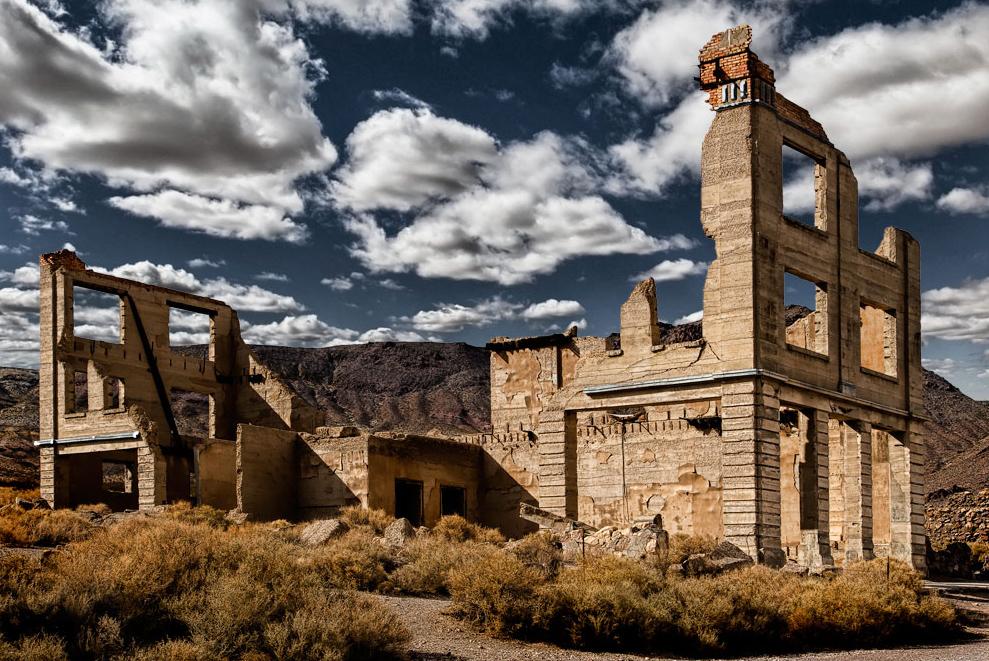 Uno degli edifici abbandonati a Rhyolite