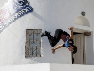Performs during the finals at the Red Bull Art of Motion