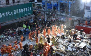cumulo di macerie nella città di Wenzhou