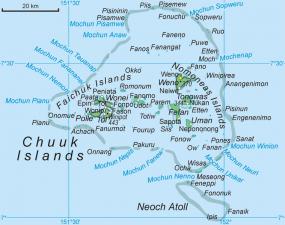 Mappa delle Isole Truk o Chuuk