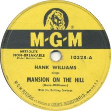 "Disco di ""Mansion On A Hill"" di Hank Williams"