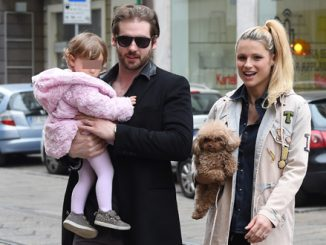 Michelle Hunziker and Tomaso Trussardi are seen with daughter Sole on March 14, 2015 in Milan, Italy.  Pictured: Michelle Hunziker, Sole Trussardi and Tomaso Trussardi Ref: SPL973047  140315   Picture by: Splash News  Splash News and Pictures Los Angeles:310-821-2666 New York:212-619-2666 London:870-934-2666 photodesk@splashnews.com