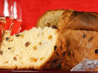 Christmas composition with panettone