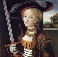 Caterina Sforza con la spada contro Cesare Borgia