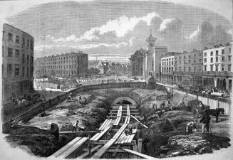 Immagine d'epoca della costruzione della metropolitana