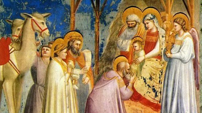 L'Epifania secondo Giotto, in un celebre dipinto conservato nella Cappella degli Scrovegni, a Firenze.