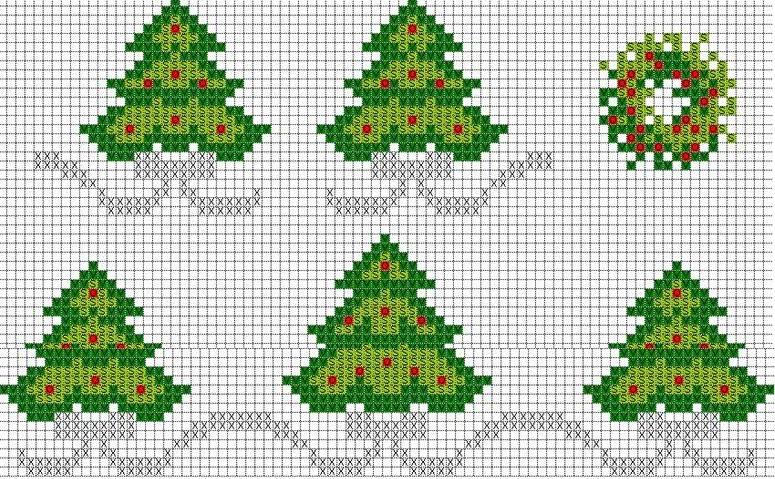 Immagini Di Natale A Punto Croce.Alberi Di Natale Semplici Calza Della Befana A Punto Croce