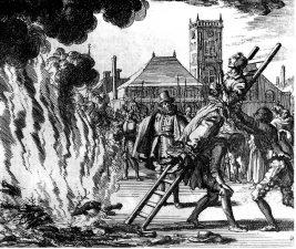 Presunta strega viene messa al rogo