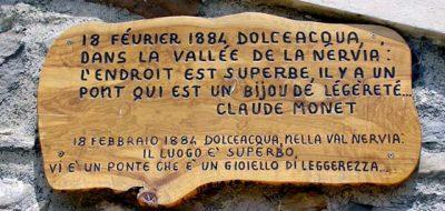 Targa di Monet che elogia Dolceacqua e il ponte