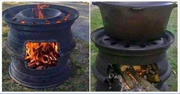 Barbecue fai da te con cerchioni dell 39 auto riciclati ecco for Barbecue fai da te in ferro