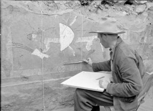 Archeologo esamina murales ad Awatovi