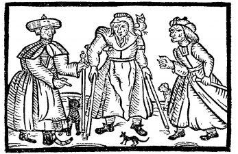 Joan Flower e le figlie rappresentate come streghe