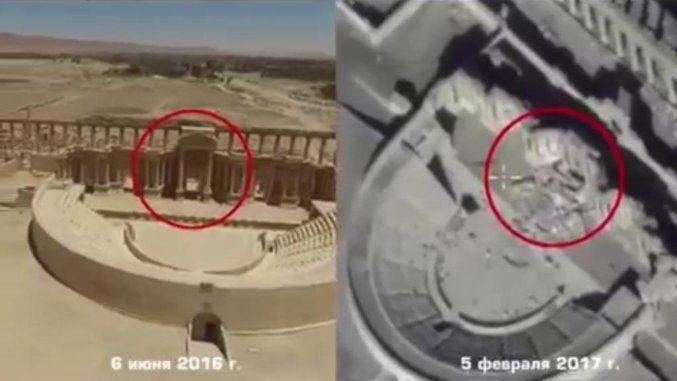 Palmira, video girato da drone russo mostra nuovi danni