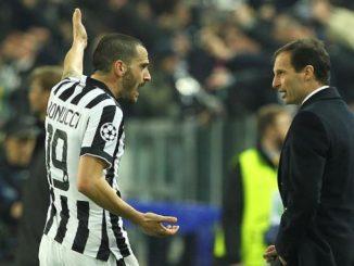 Juve Bonucci multato per la lite con Allegri