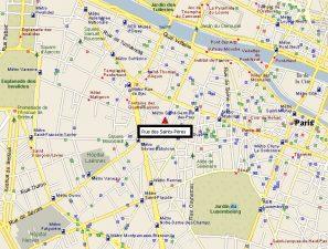 Cartina di Parigi con Rue Saints Pères