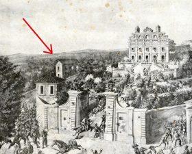 Casa Giacometti in una stampa del Museo del Risorgimento a Roma