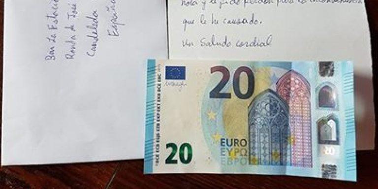 Il cliente va via senza pagare: dopo qualche giorno invia i soldi con una lettera di scuse
