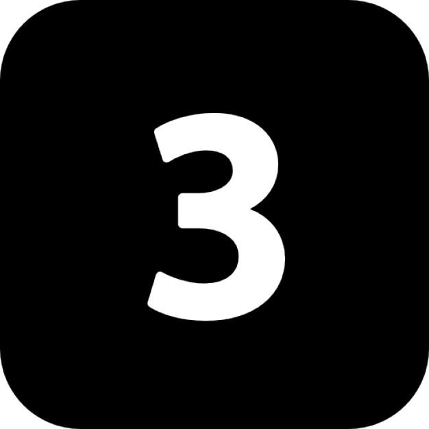 nummer drei in einem quadrat mit abgerundeten ecken 318 10097