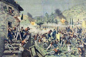 Scena di battaglia a Roma tra i Garibaldini e i francesi