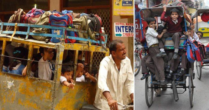 Nuova Delhi scuolabus: è un risciò che trasporta 10 bambini